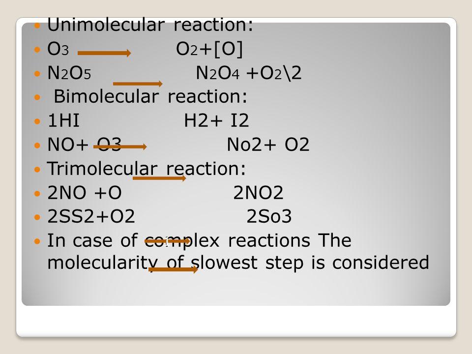 Unimolecular reaction: O3 O2+[O] N2O5 N2O4 +O2\2 Bimolecular reaction: